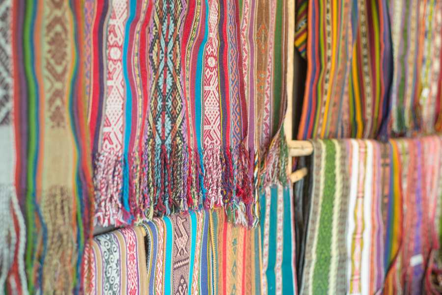 Peruvian textile weaving - Finished Scarves at Amaru Village