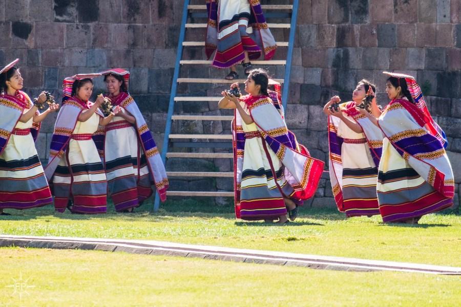 Inti Raymi festival - Female dancers at Coricancha.