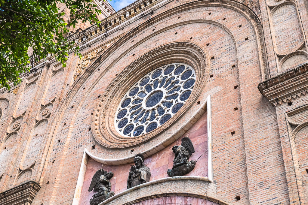 The facade of a church in Cuenca, Ecuador.