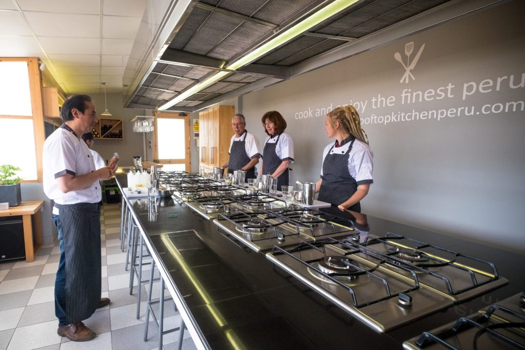Cooking class in Cusco - Preparing to cook at Rooftop Kitchen.