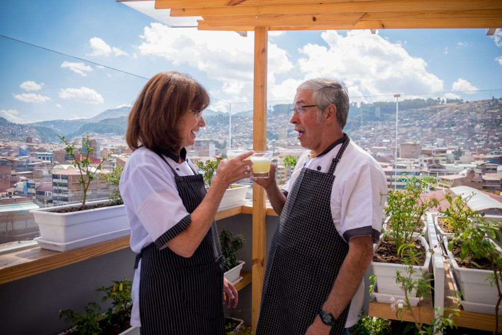 Cooking class in Cusco - Rooftop cheers with pisco sours.