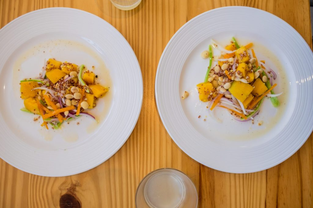Cooking class in Cusco - Colourful plates of mango ceviche.