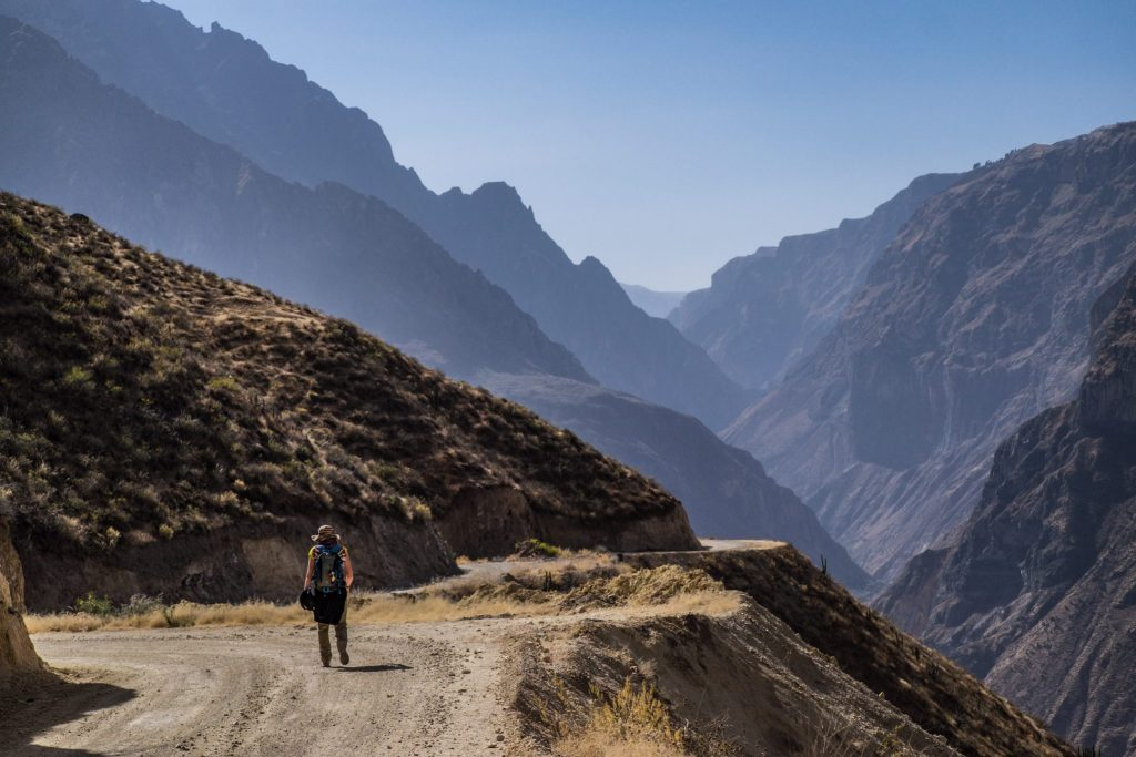 Colca Canyon trek - Hiking the ridge line.