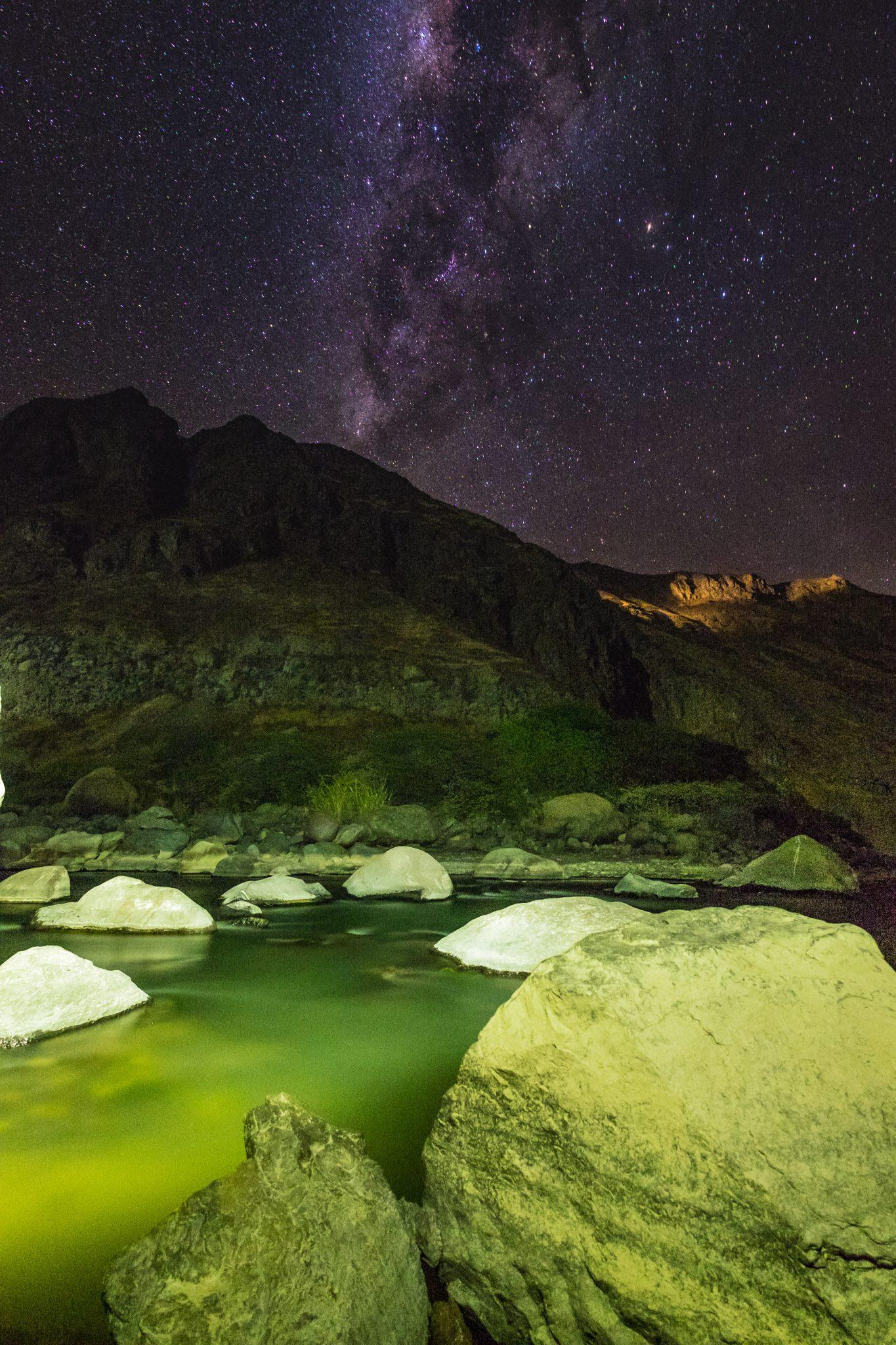 Colca Canyon trek - Llahuar Lodge and river by night.