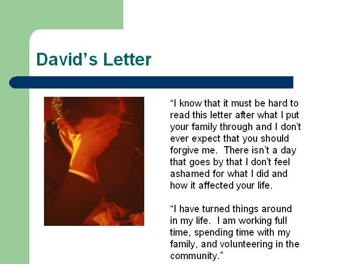 David's Letter for RJ photo