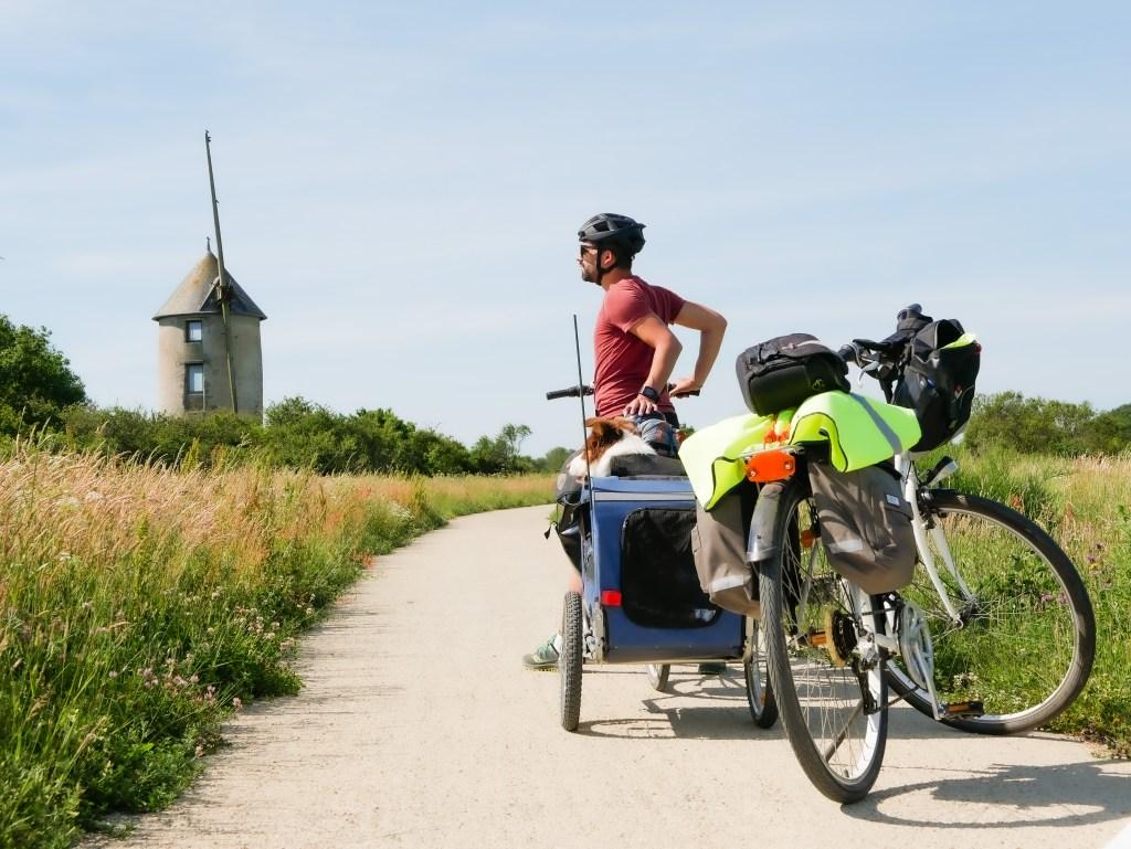 moulin marais salants du mes randonnée vélo chien