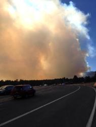 Smoke seen from the Beaver Meadows entrance to the park. (Photo: John Cordsen)