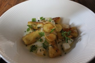 Terragon gnocchi with sunroot purré