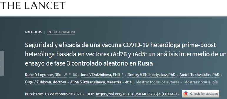 Efectividad de la vacuna «Sputnik V», de Rusia, es reconocida por The Lancet (EE.UU.)