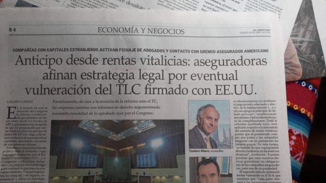 Anticipo desde rentas vitalicias: aseguradoras afinan estrategia legal por eventual vulneración del TLC firmado con EE.UU.