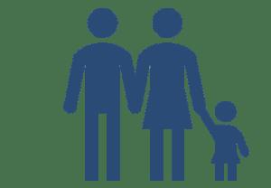 Piktogramm Mann und Frau mit einem Kind