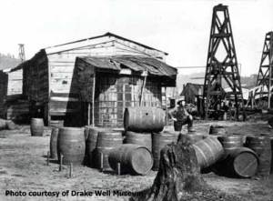 Oil barrels in PA, circa 1864. From http://www.petroleumhistory.org/OilHistory/pages/Barrels/making_barrels.html
