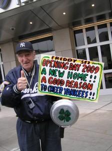 Freddy Sez outside of new Yankee Stadium