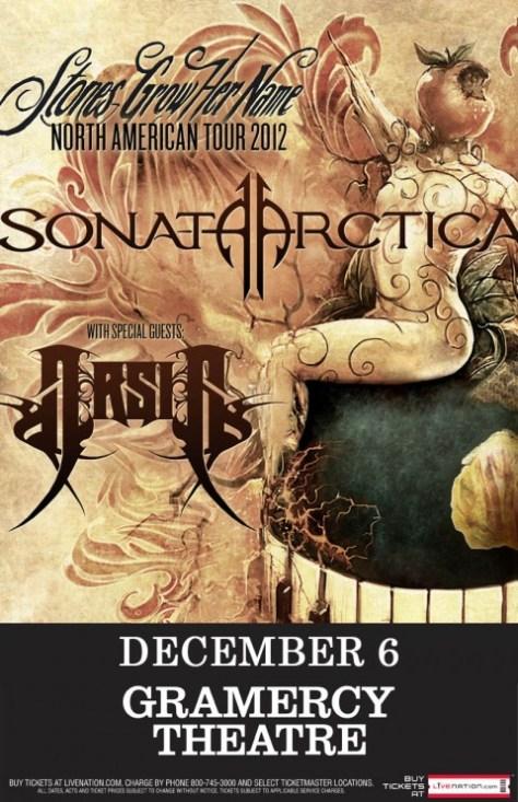 sonata arctica nyc concert poster, sonata arctica,