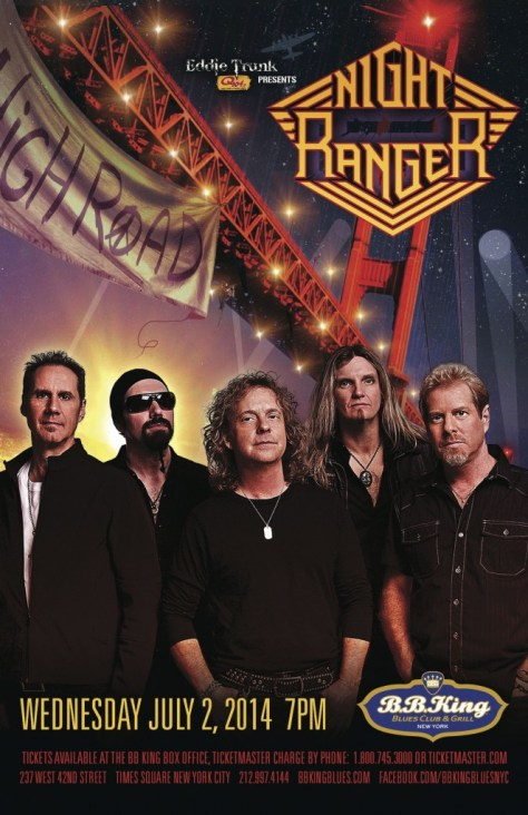 Poster - Night Ranger at BB Kings - 2014