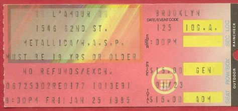 Ticket - Metallica - 1985