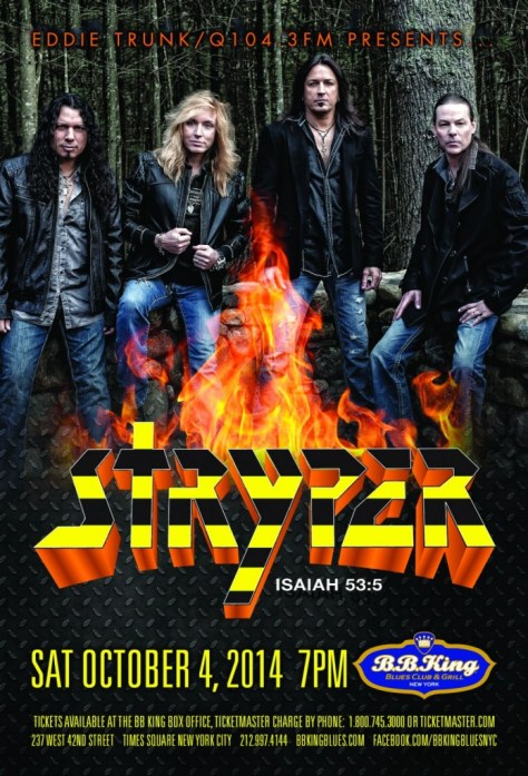Poster - Stryper at BB Kings - 2014