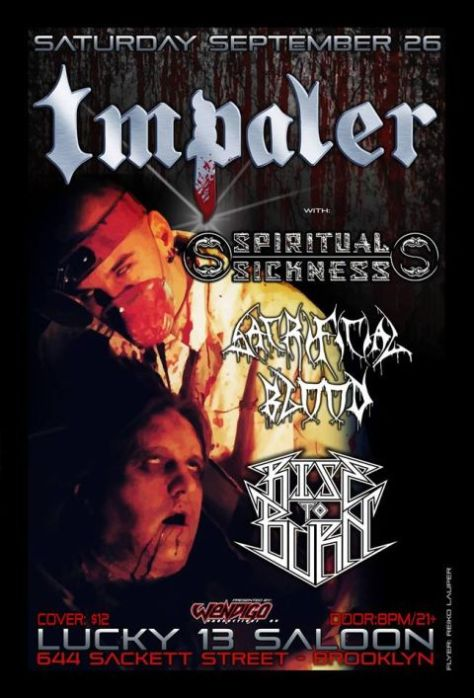 Poster - Impaler at Lucky 13 Saloon - 2015