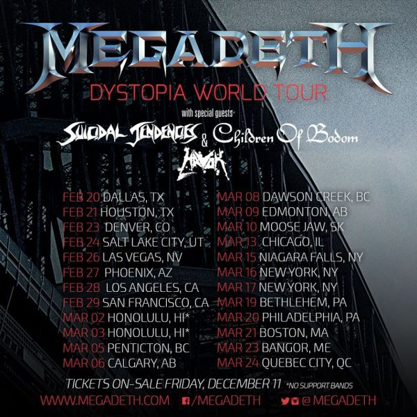megadeth announces 2016 north american dystopia tour. Black Bedroom Furniture Sets. Home Design Ideas