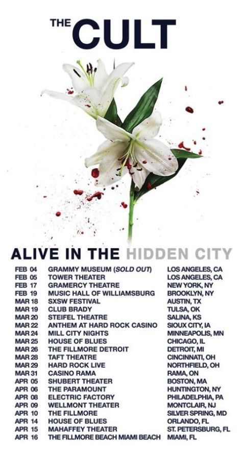 Tour - The Cult - Alive In The Hidden City 2016
