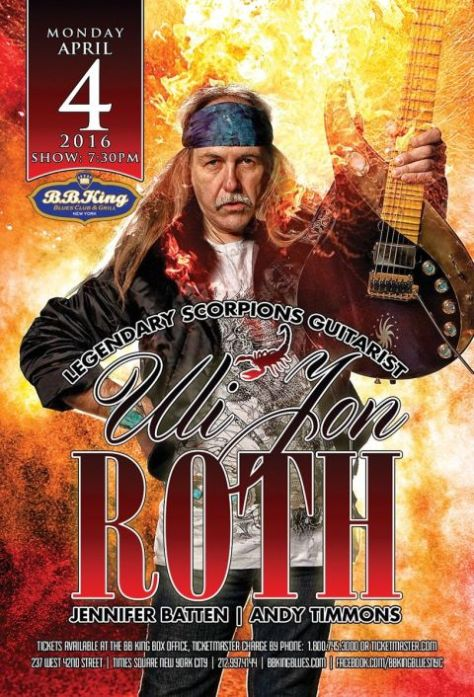 Poster - Uli Jon Roth at BB Kings - 2016