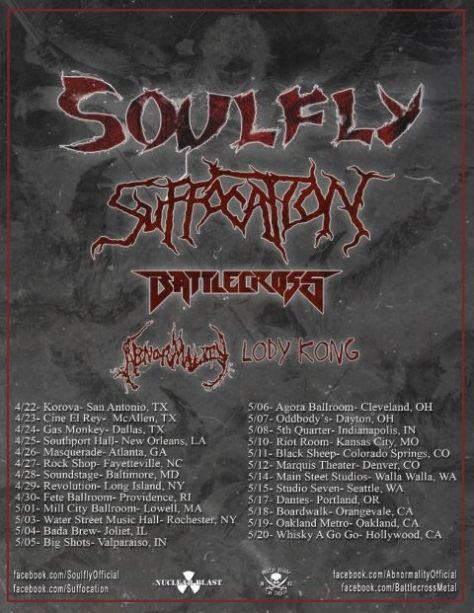 Tour - Soulfly - Spring 2016