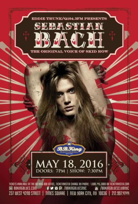 Poster - Sebastian Bach at BB Kings - 2016