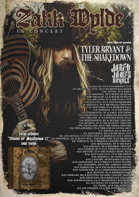Tour - Zakk Wylde - Book Of Shadows 2016