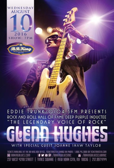 Poster - Glenn Hughes at BB King Blues Club - 2016