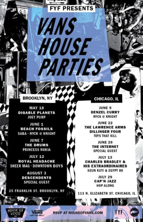 house of vans, vans house parties 2017