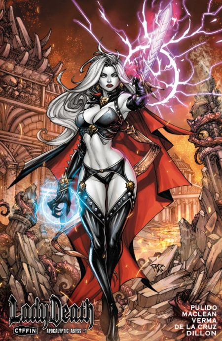 comic book covers, coffin comics, lady death: apocalyptic abyss