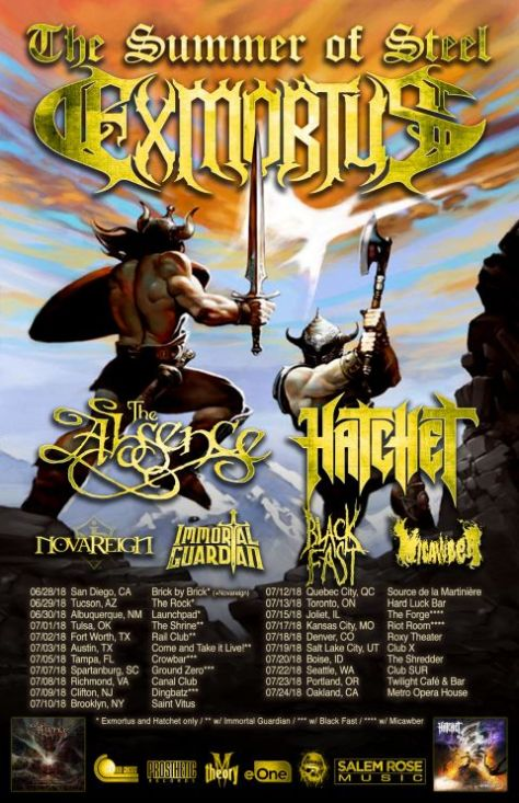 exmortus, summer of steel tour, tour posters