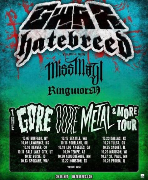 tour posters, gwar, hatebreed, gwar tour posters, hatebreed tour posters, metal blade records artists