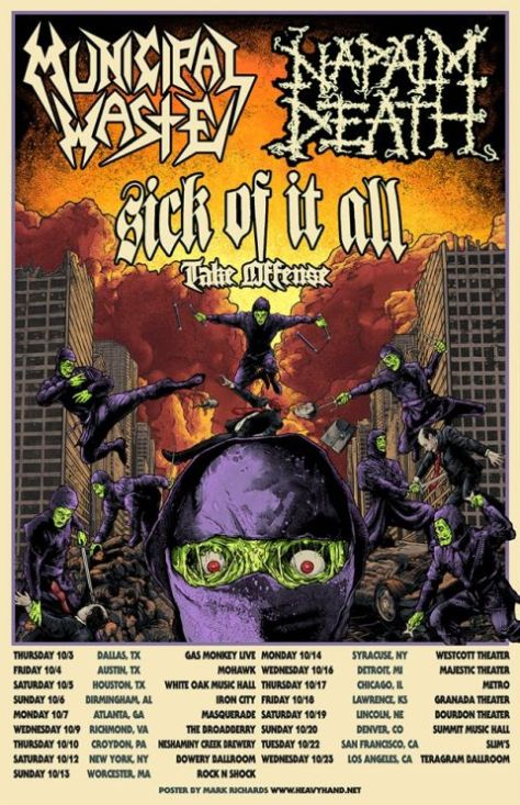 tour posters, municipal waste, napalm death, municipal waste tour posters, napalm death tour posters