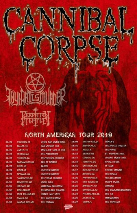 tour posters, metal blade records, cannibal corpse, cannibal corpse tour posters