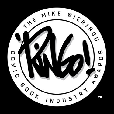 ringo awards logo, mike wieringo comic book industry awards logo