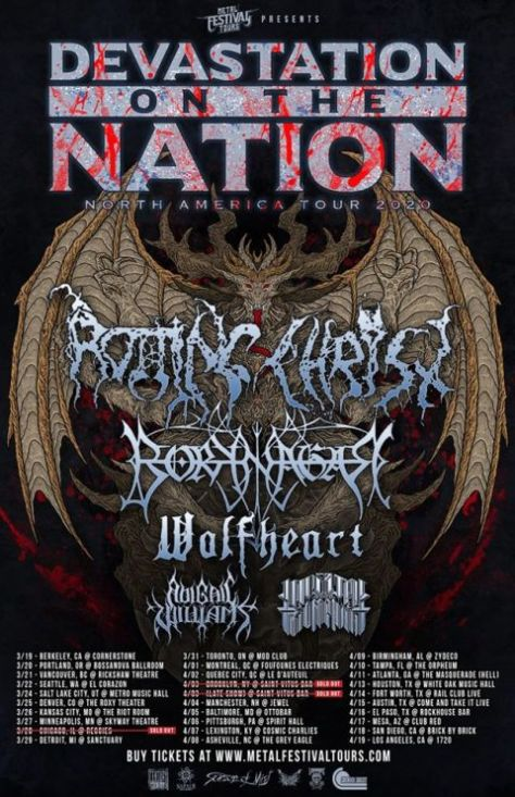 tour posters, rotting christ, rotting christ tour posters, devastation on the nation, devastation on the nation 2020