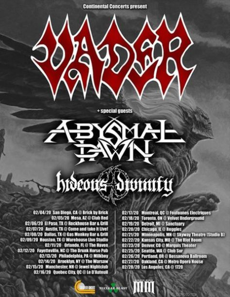 tour posters, vader, vader tour posters, nuclear blast records artists
