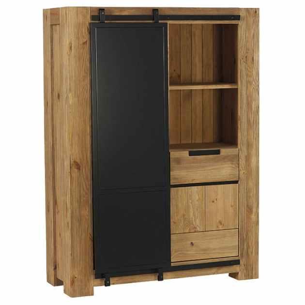 armoire haute en pin brosse 2 portes soho