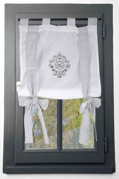 rideau vitrage blanc romantique brode ruban a nouer gris 60x140cm 100 coton meline