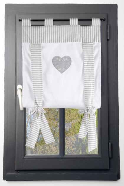 rideau vitrage romantique raye ecru et gris decor coeur brode ruban a nouer 60x140cm 100 coton chinon