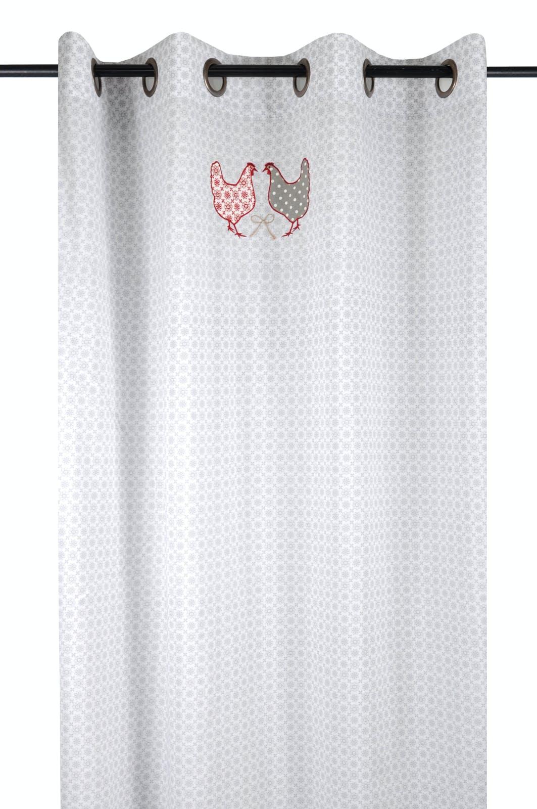 rideau voilage campagne romantique blanc motif floral gris decor poules brodees 135x260cm a oeillets 100 coton padou