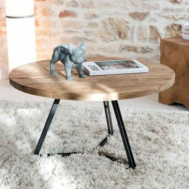 table basse ronde en teck recycle et