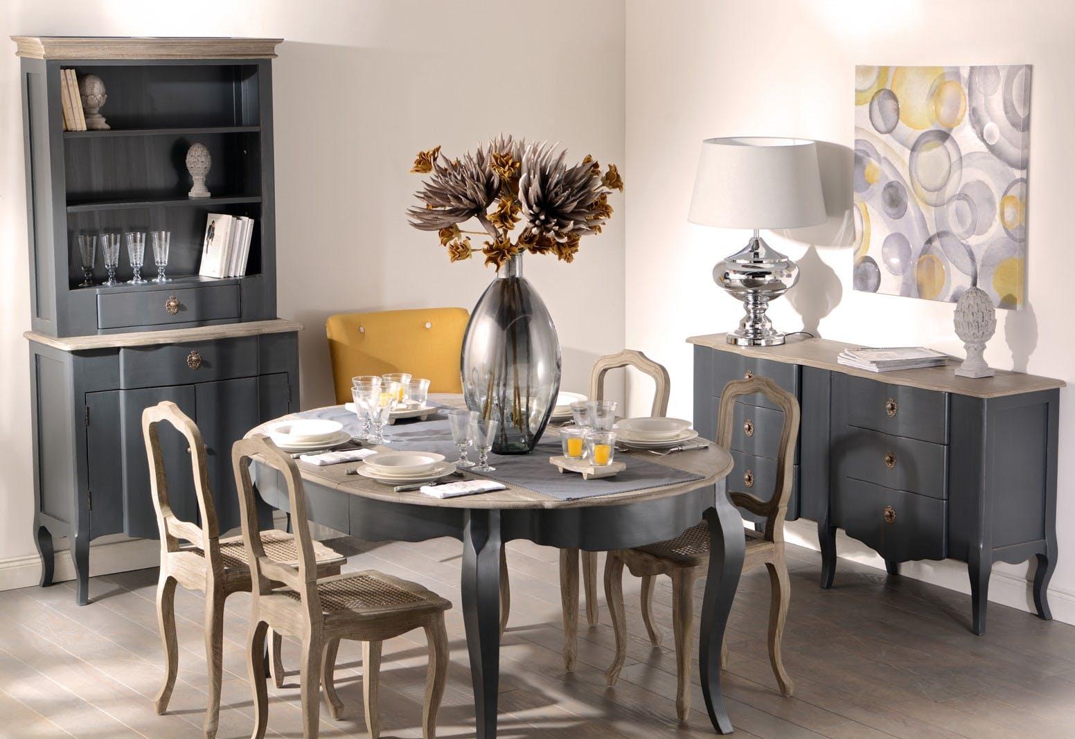 table de repas ronde baroque celestine ardoise plateau bois naturel 120 160x120x77cm amadeus