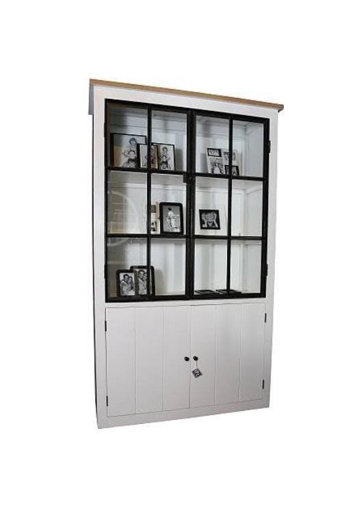 vaisselier 2 portes blanc chene massif blanc 120x48x200 aline