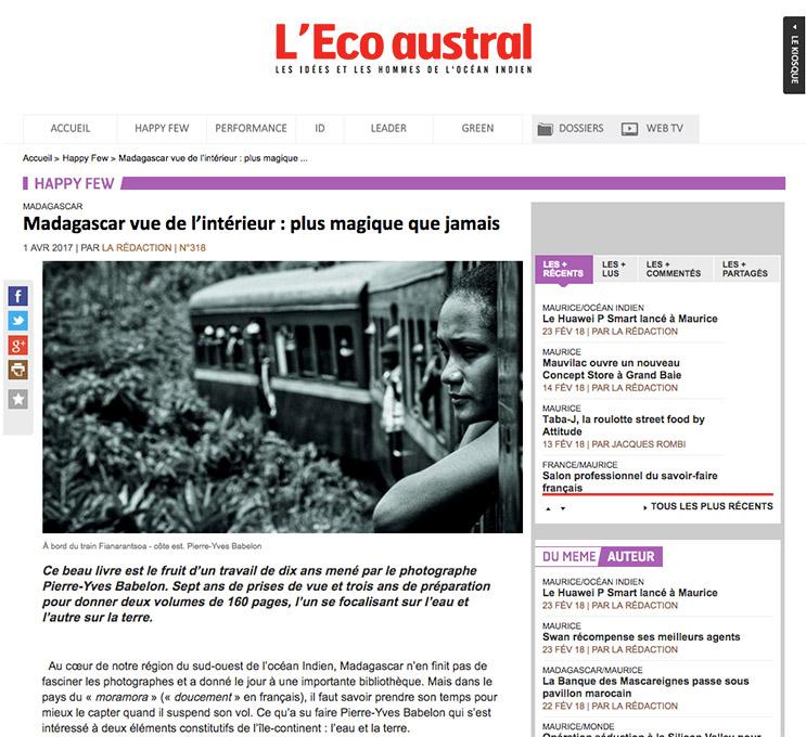 """Eco Austral article sur le livre """"Madagascar vu de l'intérieur"""""""
