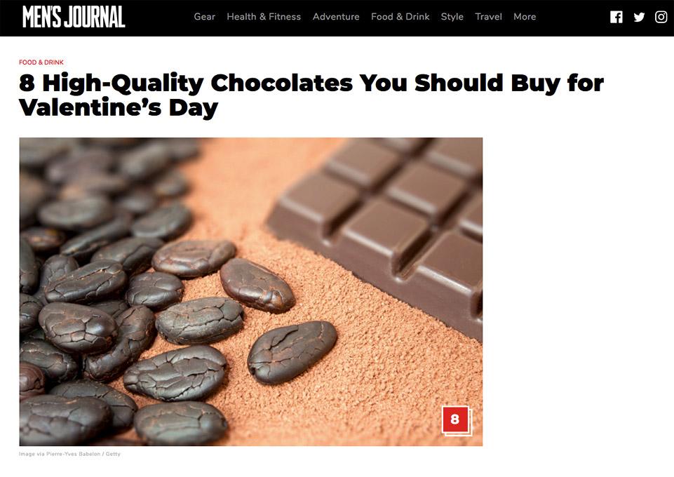 Men's journal article sur le chocolat