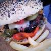 burger, sauce barbecue, hambourger, steak, frites