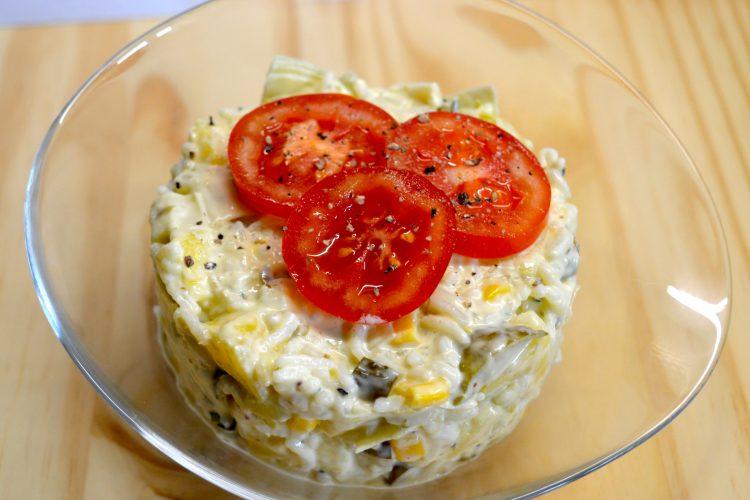 salatka, salatka z ryzem, pory,