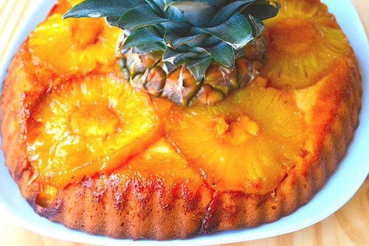 gateau, ananas, caramel